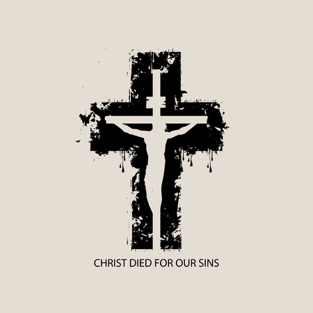 Religious theme with crucified Jesus Christ on the  of abstract black cross with the words Christ died for our sins.