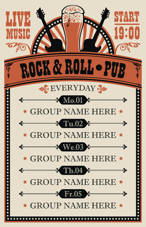 Poster for music rock and roll pub with live music with beer glass and guitars.
