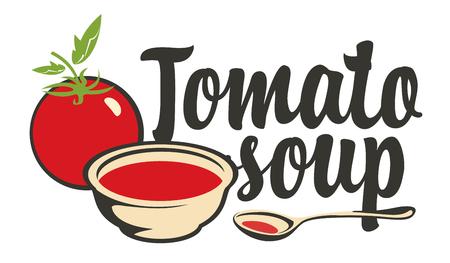 Banner for tomato soup. Stock Illustratie