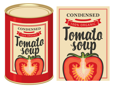 Vector  of label for condensed tomato soup with the image of a cut tomato and tin can with this label