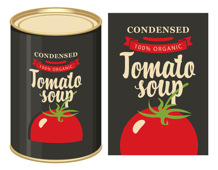 Vector  of label for condensed tomato soup with the image of a whole tomato on black  and tin can with this label