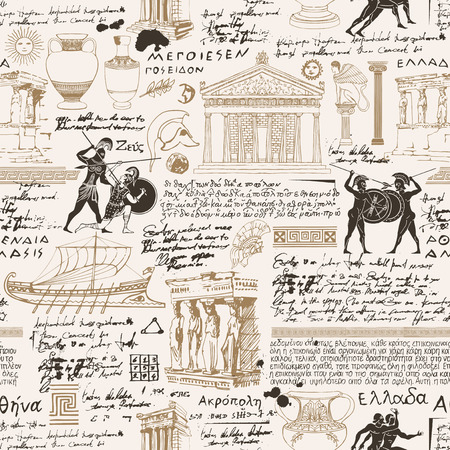 Vector seamless pattern on the theme of ancient Greece. Antique manuscript with sketches, illegible handwritten texts, blots and spots in retro style. Can be used as wallpaper or wrapping paper Ilustração