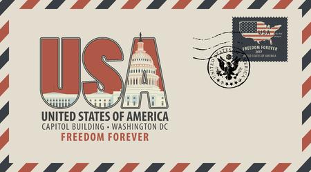 Cartolina vettoriale o busta con lettere USA con Campidoglio e iscrizioni. Cartolina con timbro postale a forma di stemma e francobollo con bandiera americana e mappa.