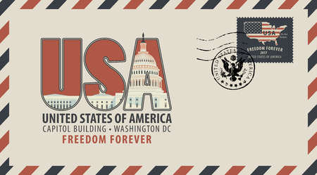 Vector postcard or envelope with letters USA with Capitol building and inscriptions. Postcard with postmark in form of coat of arms and postage stamp with american flag and map.