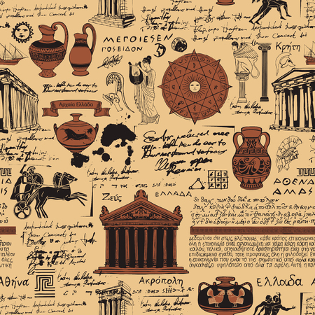 Vector seamless pattern on the theme of ancient Greece. Antique manuscript with sketches, illegible handwritten texts, blots and spots in retro style. Can be used as wallpaper or wrapping paper 일러스트