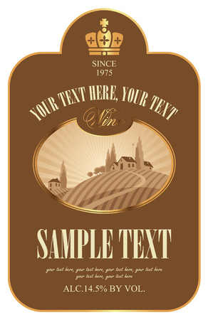 Wine label with European rural landscape of vineyards and Italian village of sunset or sunrise in figured frame in retro style Illustration