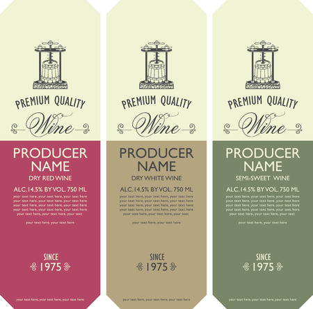 Set of three labels for various kinds of wine with vintage wine press, bunch of grapes, calligraphic inscription and place for text