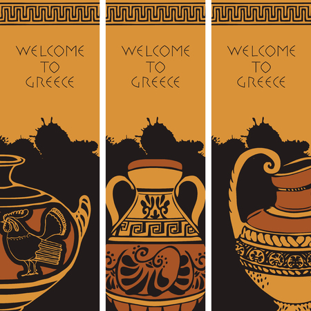 Set of three vector travel banners on the theme of Ancient Greece with Greek antique amphorae and inscriptions Welcome to Greece in black and orange colors.