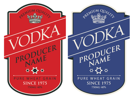 Set of two  labels for vodka in the figured frame with crown and inscriptions on red and blue  in retro style.