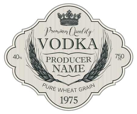 Label for vodka in the figured frame with crown, ears of wheat and inscriptions on the striped in retro style.