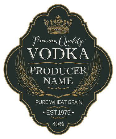 Label for vodka in the figured frame with crown, ears of wheat and inscriptions on the black in retro style.