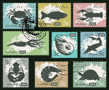 Set of postage stamps on the theme of underwater sea animals. Vector Illustration