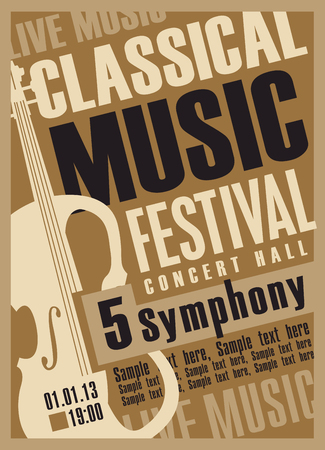 Vector poster for a festival of classical music with violin, inscriptions and place for text