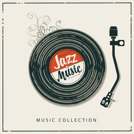Vector poster or banner with record player, old vinyl record and calligraphic inscription Jazz music in retro style. Good old jazz. Illustration
