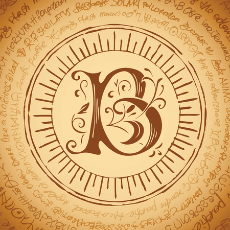 Illustration of the letter B with magical inscriptions in retro style. Vector banner, mascot on an abstract background with ancient inscriptions written in a circle.