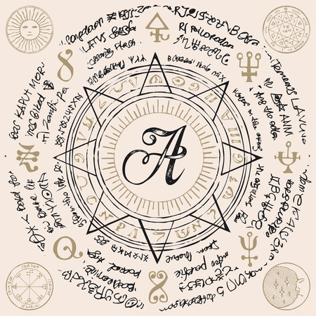 Letter A in an octagonal star with magical inscriptions and symbols in retro style. Ilustração
