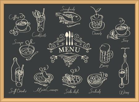 Restaurantmenu met schetsen van verschillende gerechten en handgeschreven inscripties.
