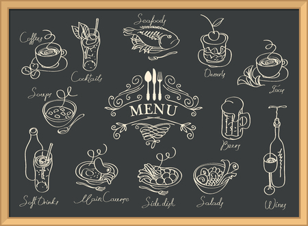 Restaurant menu with sketches of different dishes and handwritten inscriptions.