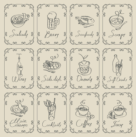 Set of sketches of different dishes with handwritten inscriptions framed with swirls on a beige