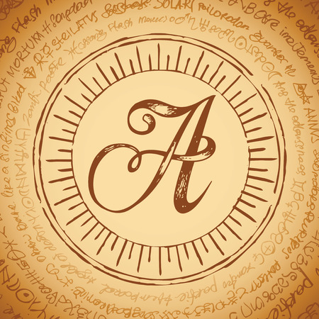 Illustration of the letter A with magical inscriptions in retro style. Vector banner, mascot on an abstract background with ancient inscriptions written in a circle. Ilustração