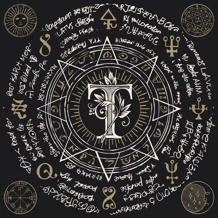 Litera T w ośmiokątnej gwieździe z magicznymi napisami i symbolami w stylu retro.