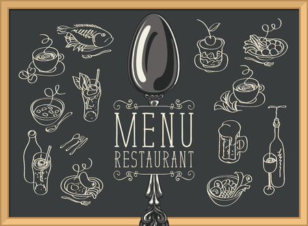 Restaurant menu with spoon, sketches of different dishes and handwritten inscriptions on the black