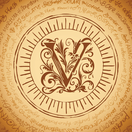 Illustration of the letter V with magical inscriptions in retro style. Vector banner, mascot on an abstract background with ancient inscriptions written in a circle. Illustration