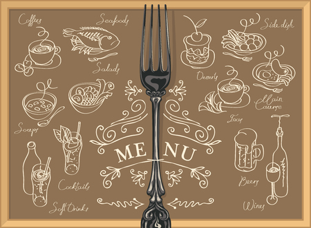 Restaurant menu with fork, sketches of different dishes and handwritten inscriptions.