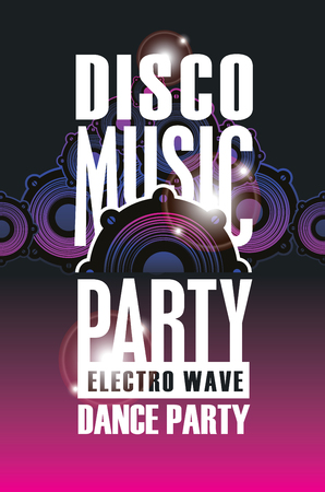 Poster or playbill for a dance music party in the night club with audio speaker on the black
