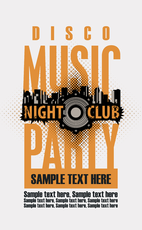 Poster or playbill for a disco music party in the nightclub with speaker and place for text on the abstract with skyscrapers of the modern city. Music party concept