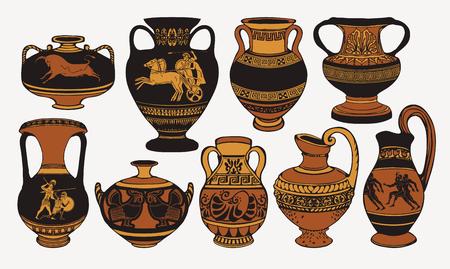 Set antieke Griekse amforen, vazen met patronen, versieringen en levensscènes. Vector Illustratie