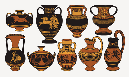 Set of antique Greek amphorae, vases with patterns, decorations and life scenes.