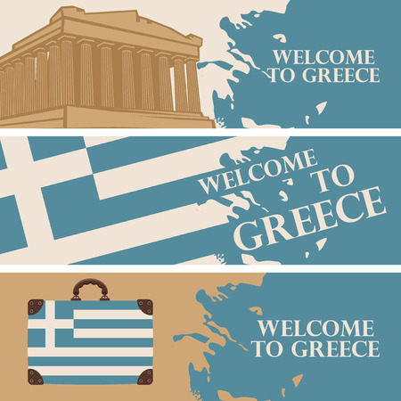 Set of three  travel banners with the words Welcome to Greece, with the Greek flag and the Athenian Acropolis.
