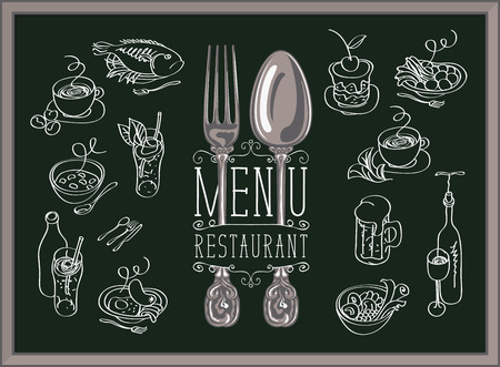 Restaurant menu with spoon, fork and sketches of different dishes on the black