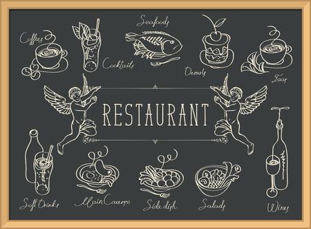 Menu del ristorante con due angeli, schizzi di piatti diversi e iscrizioni scritte a mano sul nero