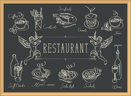Restaurant menu with two angels, sketches of different dishes and handwritten inscriptions on the black Vettoriali