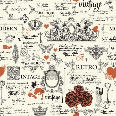 Modèle sans couture, dessiné à la main sur le thème des objets d'art vintage, des meubles et des antiquités dans un style rétro.