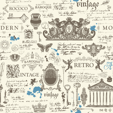 Vector seamless pattern, hand drawn background on the theme of vintage art objects, furniture and Antiques in retro style. Wallpaper, wrapping paper, textile, fabric or background for clothes