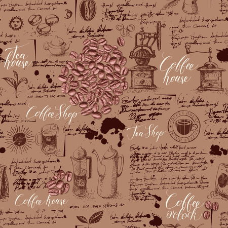 Vector seamless pattern on tea and coffee theme in retro style. Various coffee and tea sketches, blots and inscriptions on illegible handwritten background. Can be used as wallpaper or wrapping paper