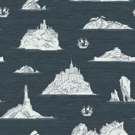 Abstract seamless  on the theme of travel, adventure and discovery. Old hand drawn map with islands, lighthouses and sailboats in retro style Illustration