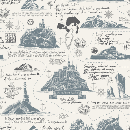 Vector abstract seamless background on the theme of travel, adventure and discovery. Old map with islands, lighthouses, sailboats and nautical symbols with notes, ink blots and stains in vintage style Illustration