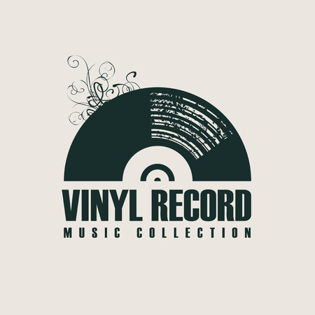 Vector music icon or logo with black vinyl record in retro style with words Vinyl record, Music collection on a light background Illusztráció