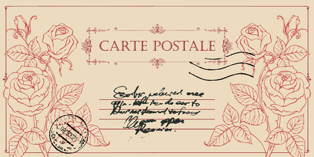 Vintage greeting card or postcard with beautiful hand drawn roses. Romantic vector card in vintage style with illegible inscriptions and postmark in frame with curls