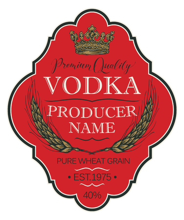 Vector label for vodka in the figured frame with crown, ears of wheat and inscriptions on a red background in retro style. Premium quality, pure wheat grain