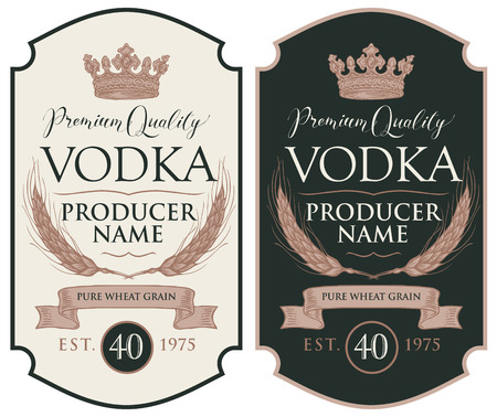 Set of two vector labels for vodka in the figured frame with crown, ears of wheat, ribbon and inscriptions in retro style. Premium quality, pure wheat grain