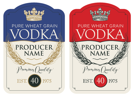 Set of two vector labels for vodka in the figured frame with crown, ears of wheat and inscriptions in retro style. Premium quality, pure wheat grain Illustration