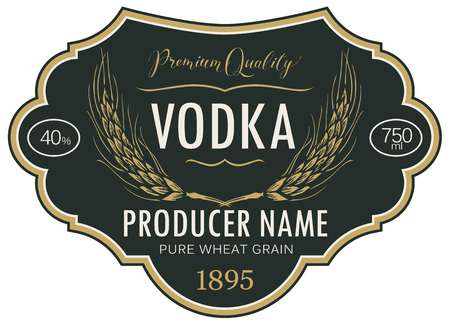 Vector label for vodka in the figured frame with ears of wheat and inscriptions on a black background in retro style. Premium quality, pure wheat grain