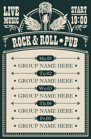 Vector poster for music rock and roll pub with live music with beer glass, guitar and wings. A daily schedule of performances of music groups in retro style Çizim