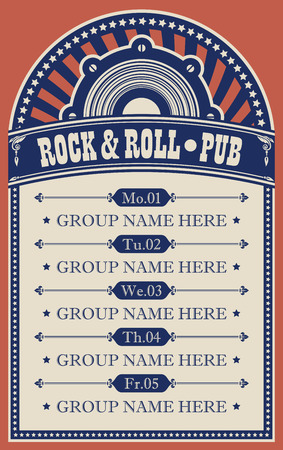 Vector poster for music rock and roll pub with acoustic speaker. A daily schedule of performances of music groups in retro style Çizim