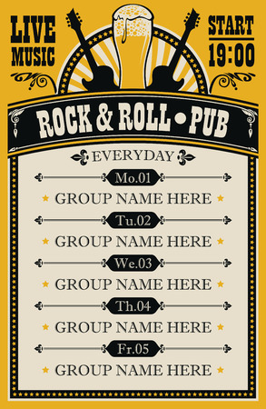 Vector poster for music rock and roll pub with live music with beer glass and guitars. A daily schedule of performances of music groups in retro style
